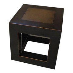 Chinese Elmwood and Stone Square Table