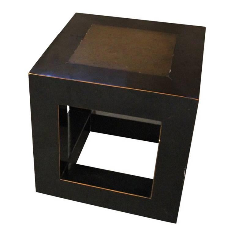 Chinese Elmwood and Stone Square Table For Sale