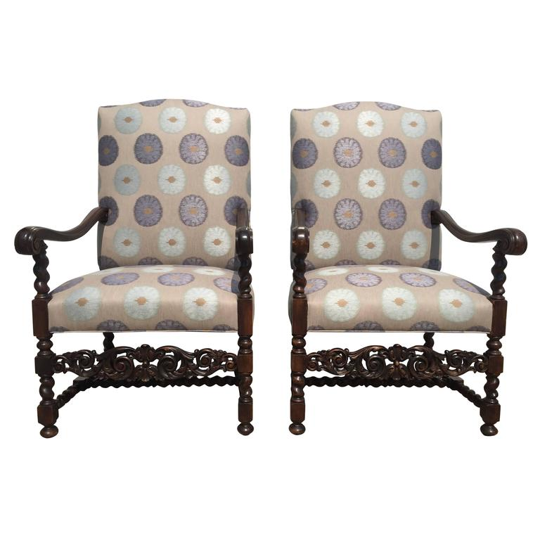 Chateau Chairs, French, 1880s Carved Walnut Frame with Mokum Fabric Restored