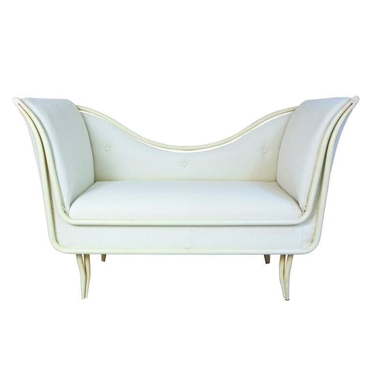 Mid-Century Modern White Iron and Beige Fabric Italian Sofa, 1950s