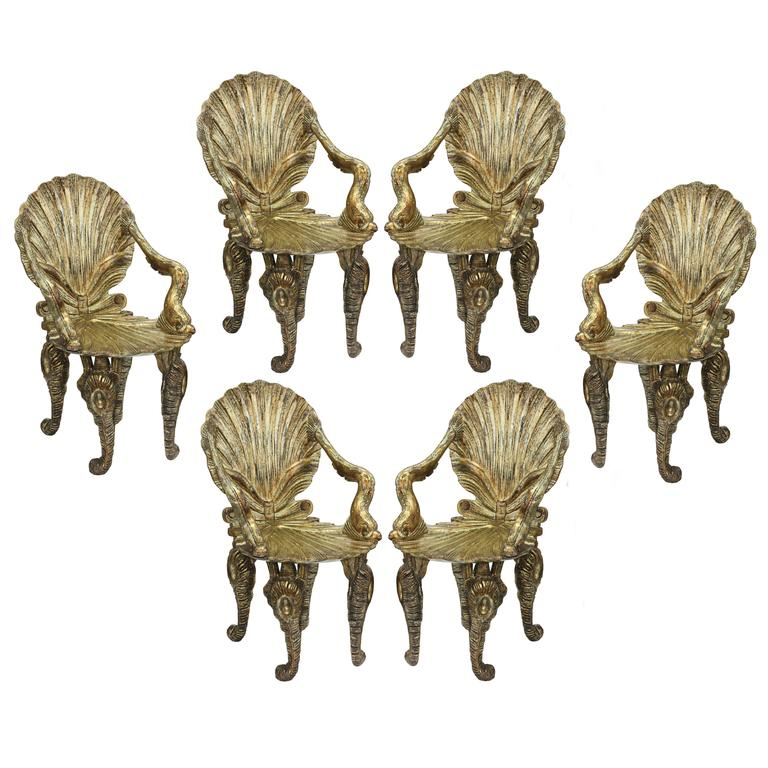 Set of Six Extraordinary Gilded Grotto Chairs by David Barrett