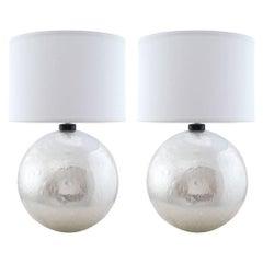 "Silver Leaf Murano ""Pulegoso"" Glass Globe Lamps"