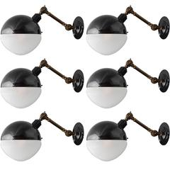 Rounded Black Extension Arm Sconce, 21st century