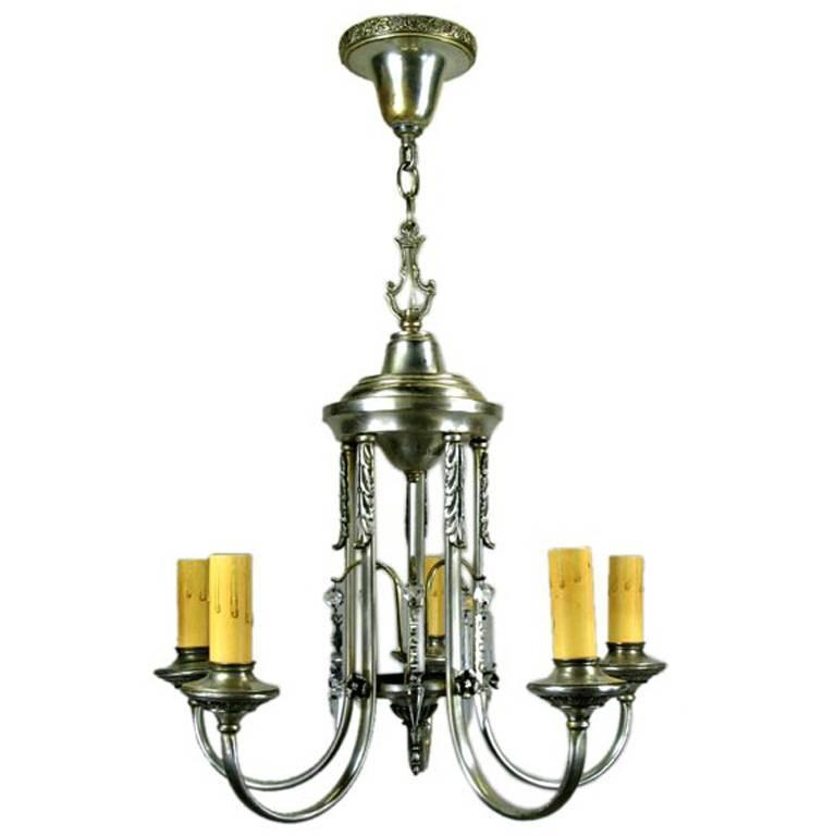 Silver plate chandelier circa 1910 for sale at 1stdibs - Circa lighting chandeliers ...