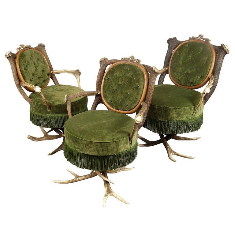 Three Antique Austrian Antler Parlor Chairs, 19th Century