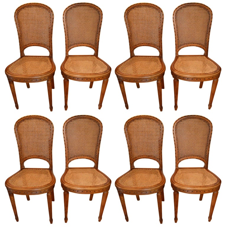 Set of 8 Louis XVI Style wood and caned dining Chairs