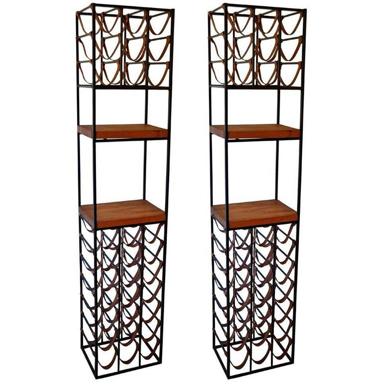 Pair Of Wrought Iron And Butcher Block Wine Racks By Arthur Umanoff