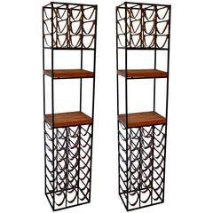 Pair of Wrought Iron and Butcher Block Wine Racks by Arthur Umanoff, 1950s
