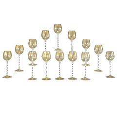 12 Venetian Goblets w/ White Cane Twist Stems & Gold Inclusions