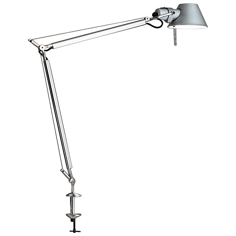 Artemide Tolomeo Classic Table Lamp with Clamp in Aluminum