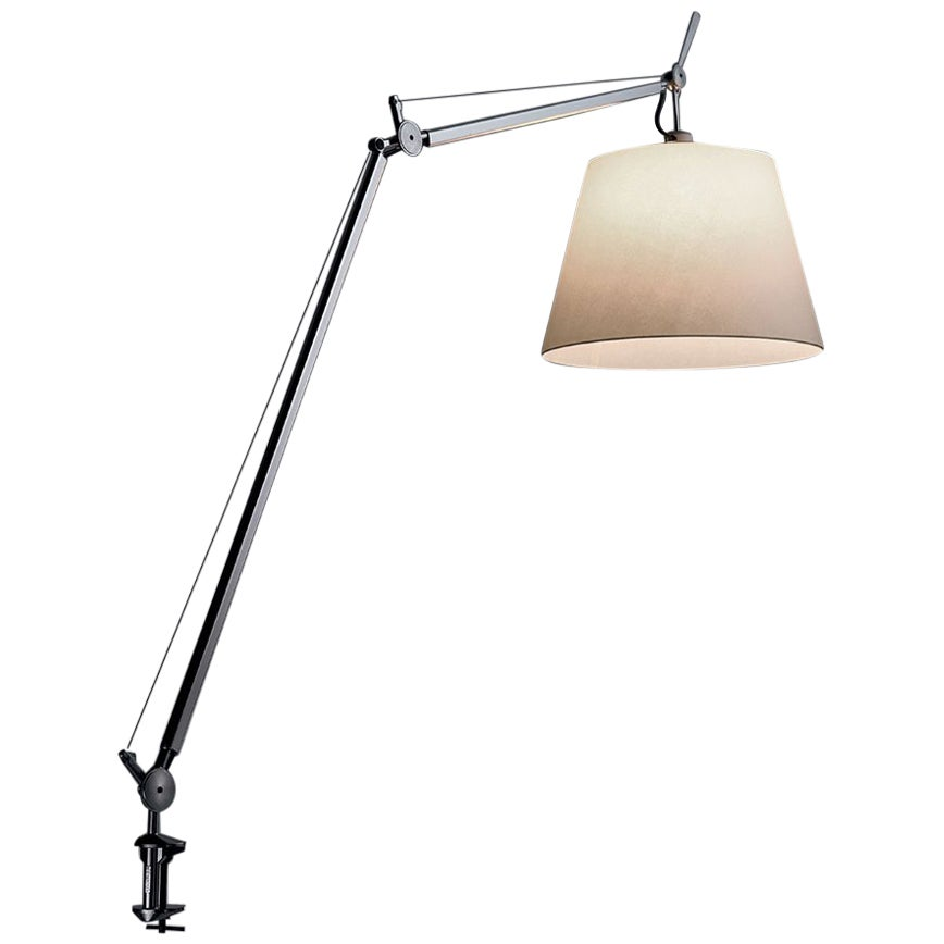 Artemide Tolomeo Mega Table Lamp with Parchment Diffuser and Clamp