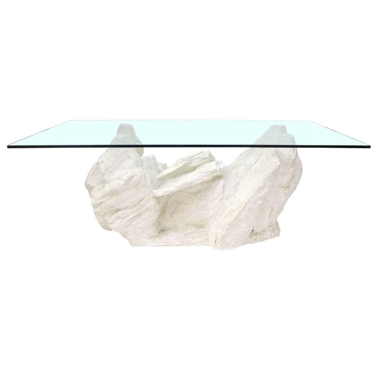 Cast Plaster Faux Rock Coffee Table by Sirmos 1 - Cast Plaster Faux Rock Coffee Table By Sirmos For Sale At 1stdibs