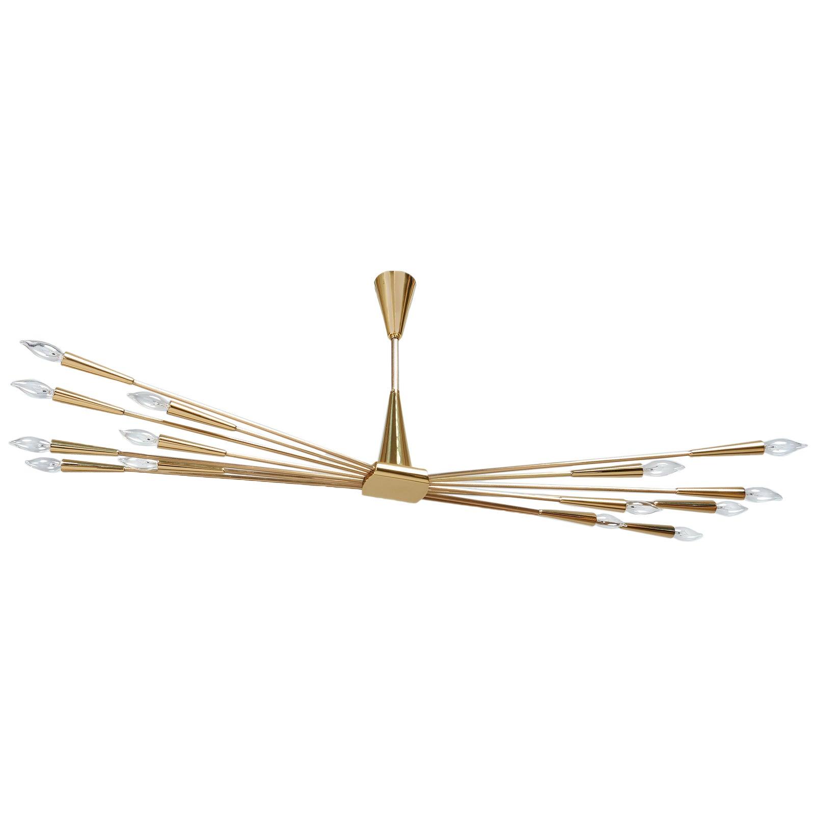 Oscar Torlasco 14-Arm Sputnik Chandelier in Mirror Polished Brass, Italy 1950s