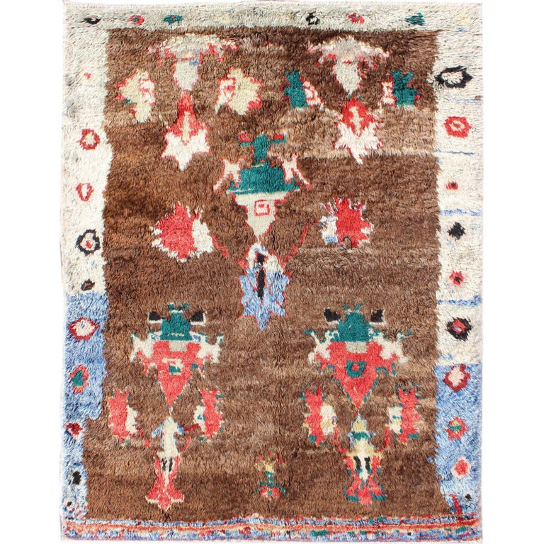Colorful Antique Tulu Rug with Angora wool Blend and Free foaling Design