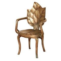 David Barrett Palm Leaf Gilt Armchairs