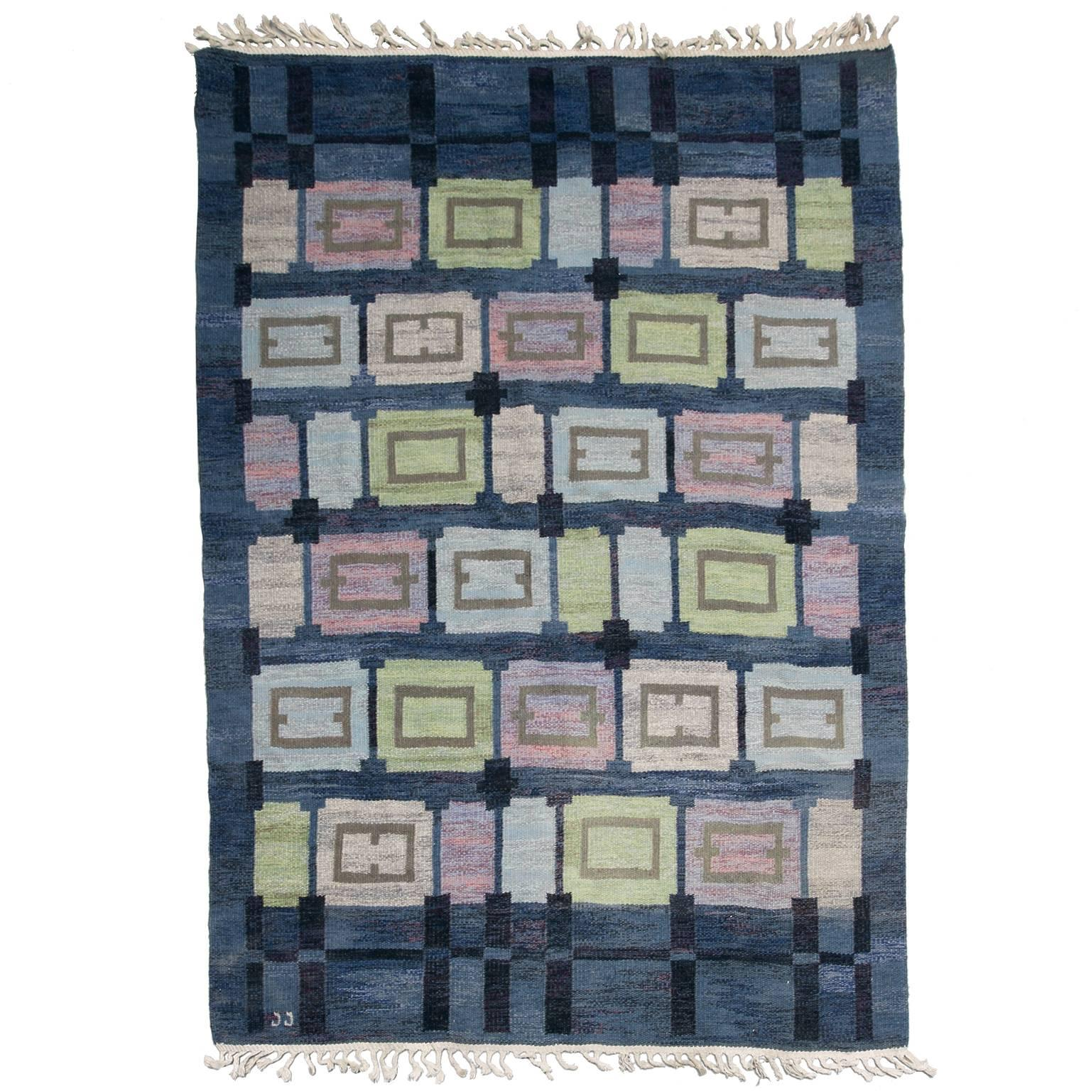 "Scandinavian Modern Wool Flat-Weave Rug ""Spice Hall""  by Judith Johansson"