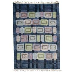 Scandinavian Modern Wool Flat-Weave Rug by Judith Johansson