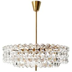 Bakalowits Chandelier, Gilt Brass Crystal Glass, Austria, 1960s