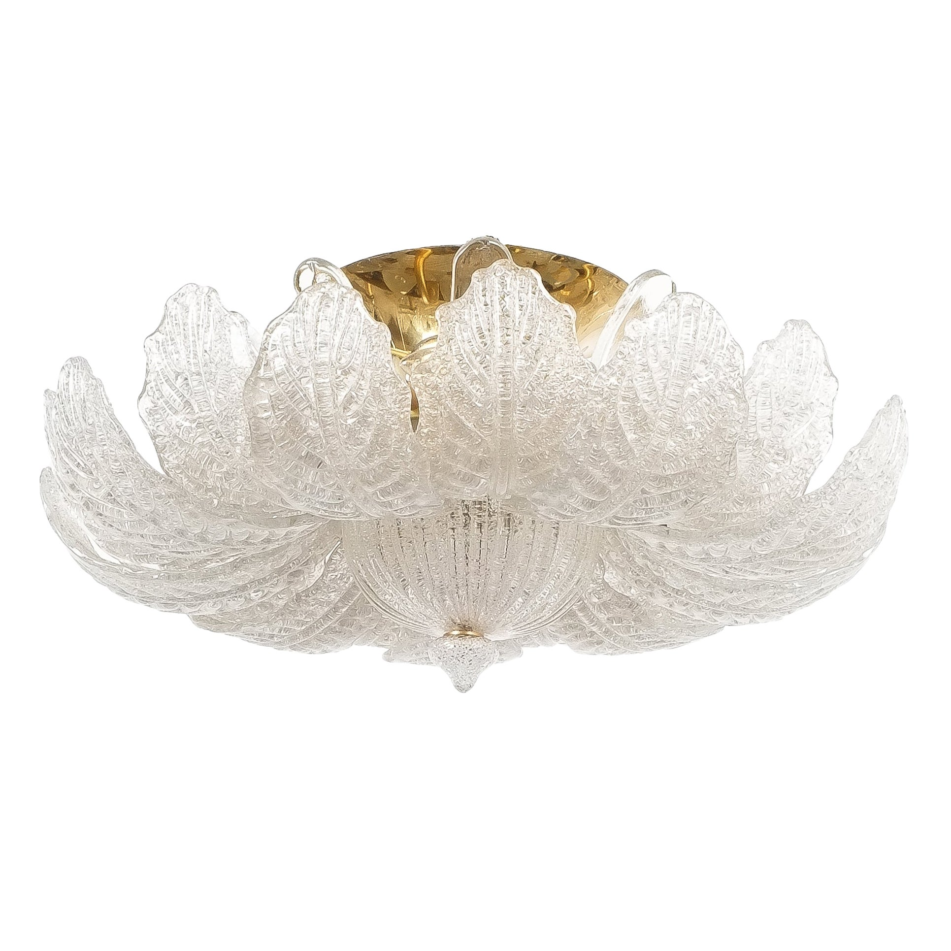 Labelled Barovier Toso Flush Mount or Chandelier Glass Brass, Italy Midcentury