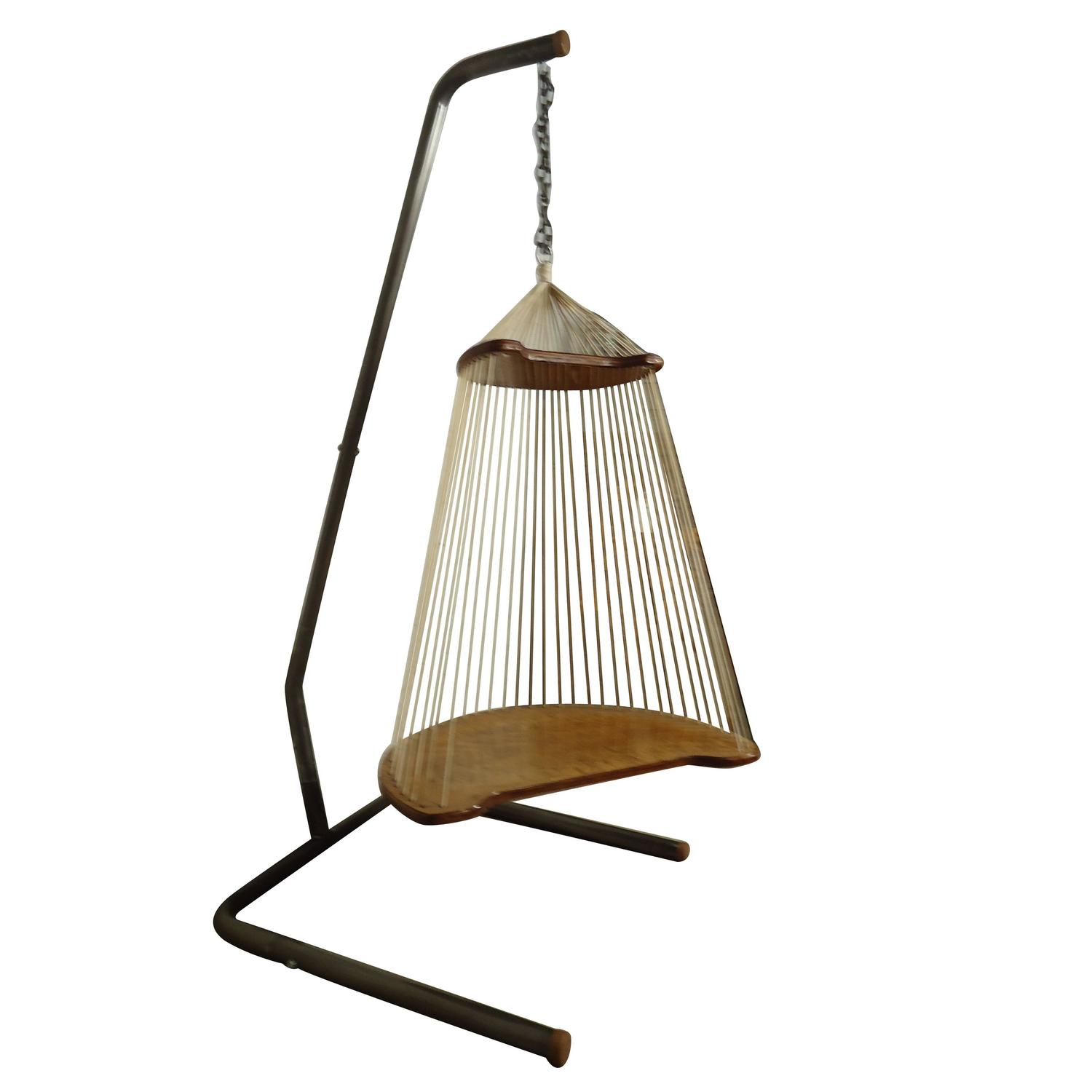Unique Mid Century Modern Hardwood And Rope Swing Chair At 1stdibs