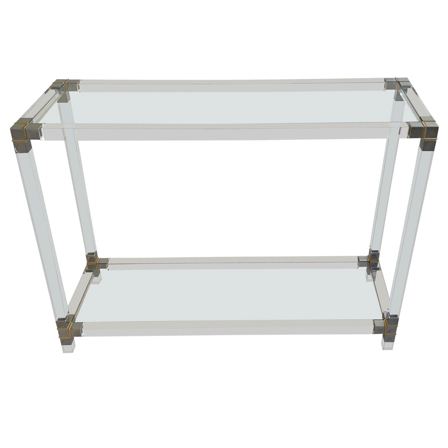Mid-Century Modern Glass-Top Console Table in Lucite, Polished Nickel and Brass