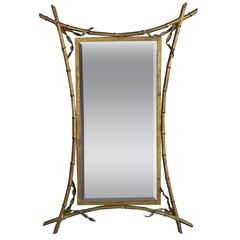 French Gilt Metal Faux Bamboo Mirror