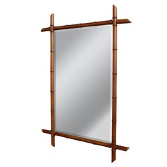 French Early 20th Century Faux Bamboo Mirror