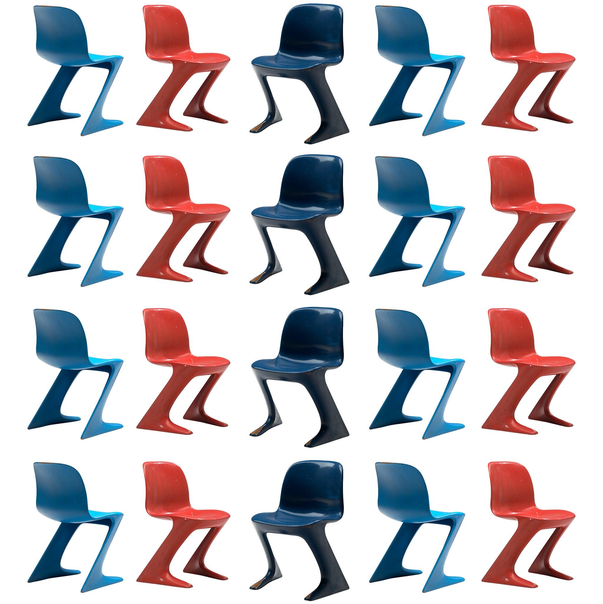 Ernst Moeckl Large Set of Multicolored Kangaroo Chairs + 50