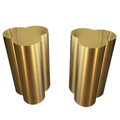Custom Trefoil Dining Table Pedestal Bases in Polished Brass