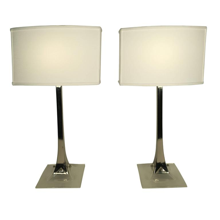 Pair of Chrome and Lucite Table Lamps by Laurel