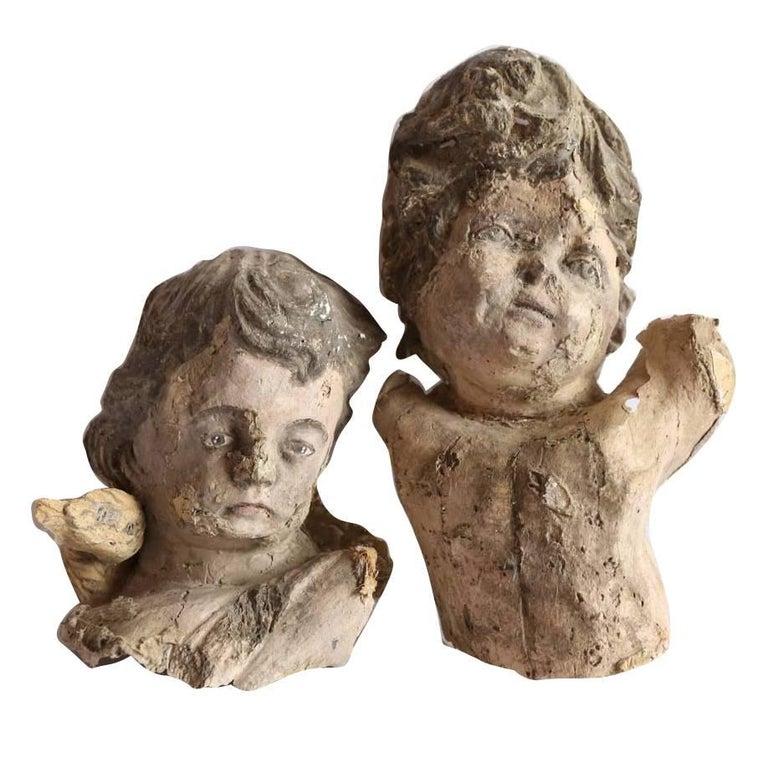 Pair of Papier Mâché Angels For Sale