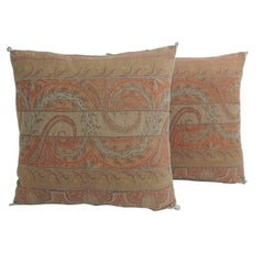 Pair of Red Kashmir Antique Textile Paisley Decorative Pillows with Trim