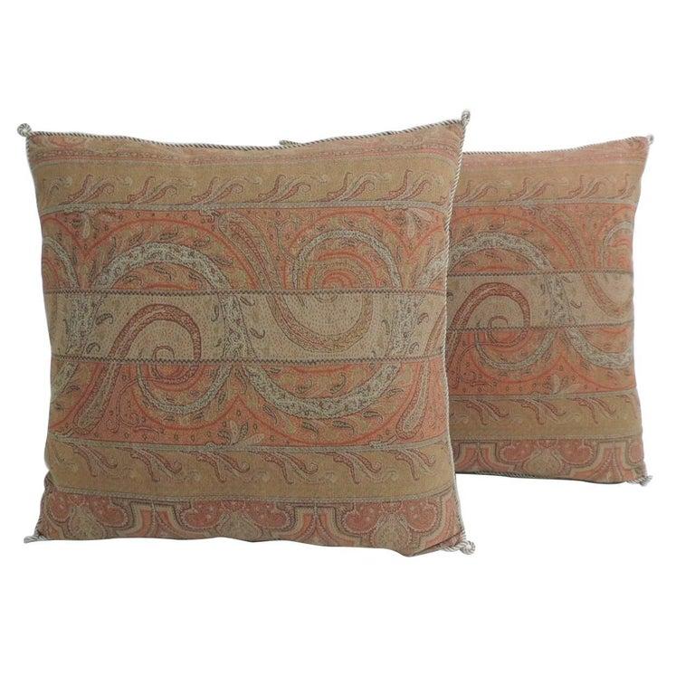 Pair Of Red Kashmir Antique Textile Paisley Decorative Pillows With Custom Decorative Trim For Pillows