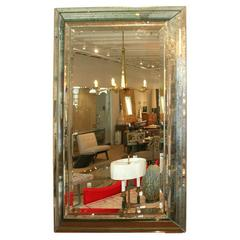 1940s Style Mirror Framed in Multi-Bevelled Mirror