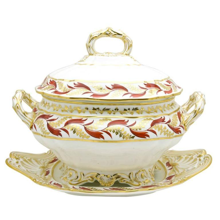 19th Century Spode Gilt and Enamel Dark Orange Soup Tureen