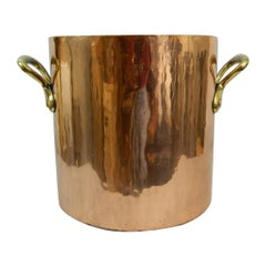 Large Copper 32 Quart Stock Pot with Brass Handles, 19th Century