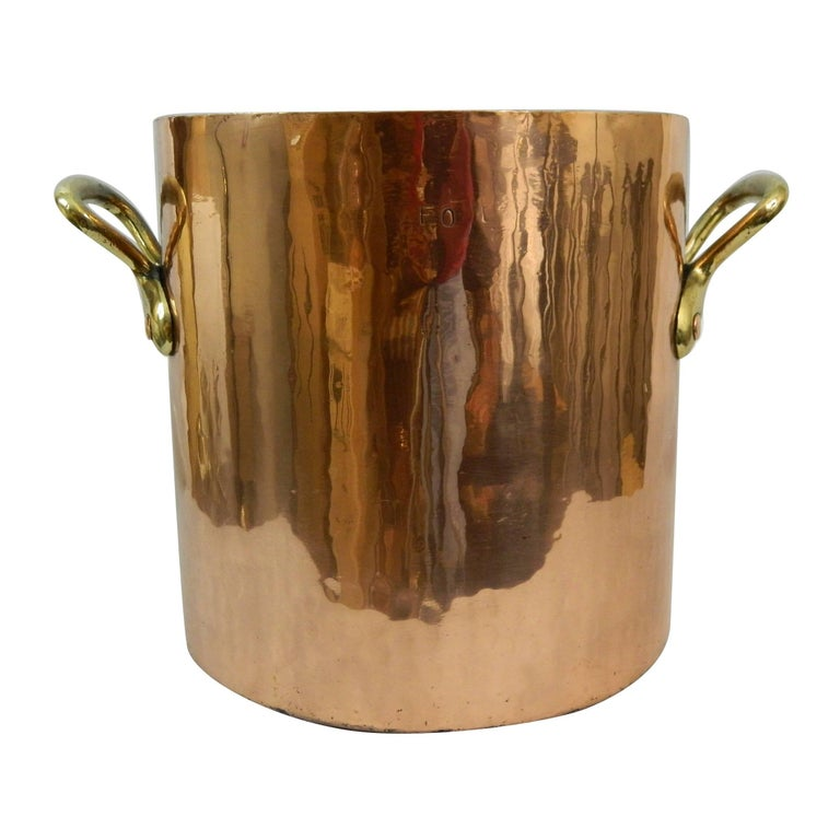 Large Copper 32 Quart Stock Pot with Brass Handles, 19th Century For Sale