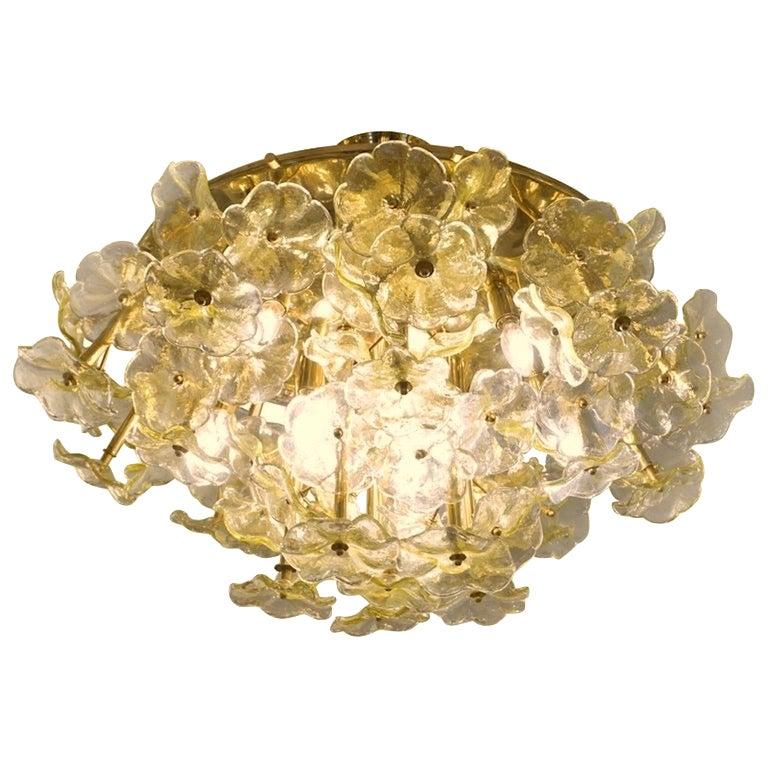1970s Italian Buttercup Yellow Murano Glass Flower Brass Chandelier/Flush Mount