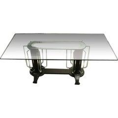 Streamline Moderne 1930s Illuminated Glass and Wood Table/Desk