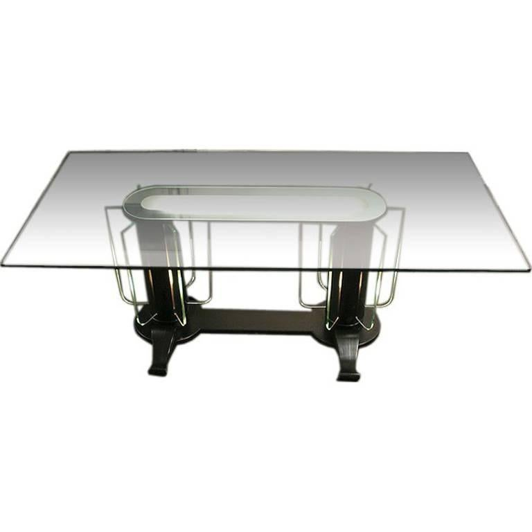 Streamline Moderne 1930s Illuminated Glass and Wood Table/Desk For Sale