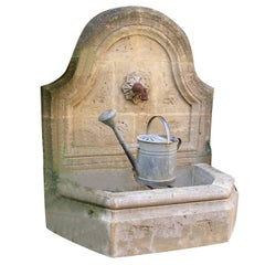 French Louis XV Style Wall Fountain Handcrafted in Limestone, Provence, France