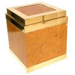 Signed Rare Amboyna Wood Ice Cooler by Gabriella Crespi