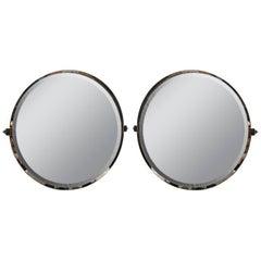 Pair of Custom Round Nickel Mirrors