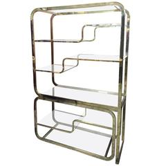 Milo Baughman for Design Institute of America Brass Etagere