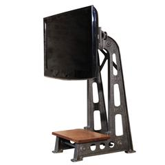 Vintage Industrial Steampunk Cast Iron Steel TV Media Screen Display Stand Table