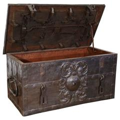 18th Century Antique Corsair Nuremberg Wrought Iron Safe Money Chest