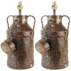 Pair of Metal French Milk Can Lamps