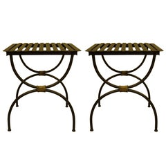 Pair French Modern Neoclassical Iron Benches / Luggage Racks, Jean Michel Frank