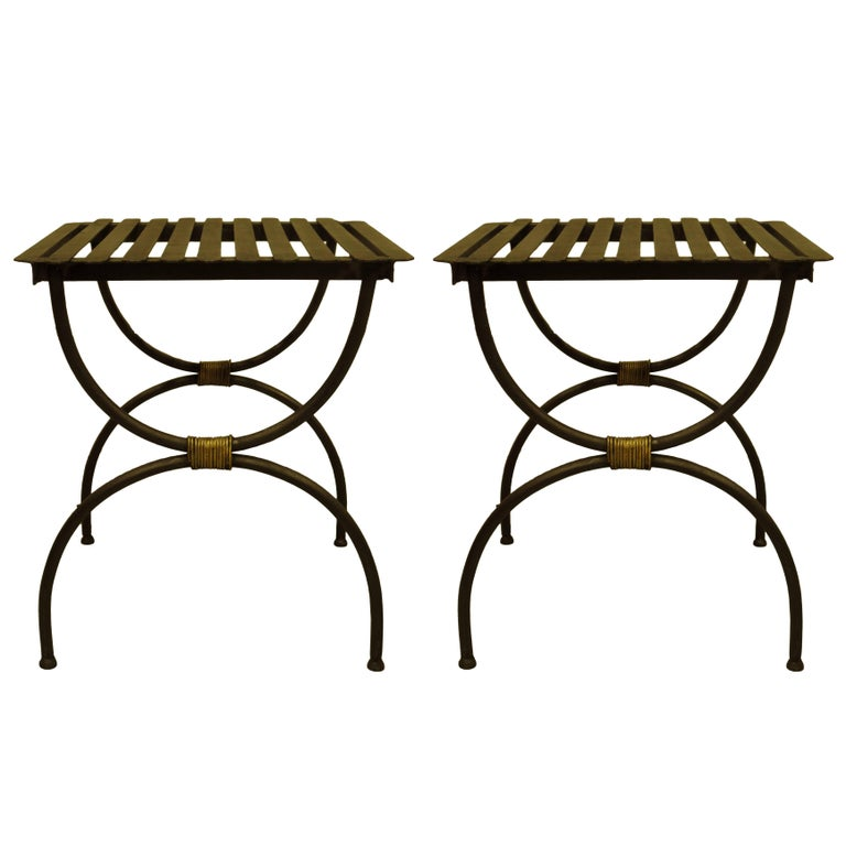 Pair French Modern Neoclassical Iron Benches / Luggage Racks, Jean Michel Frank For Sale