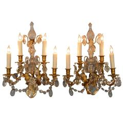 Pair of 19th C French Louis XIV Crystal and Bronze Doré Sconces